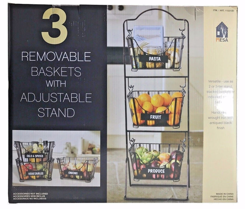 Mesa 3 Removable Baskets with Adjustable Stand Handcrafted Wrought Iron