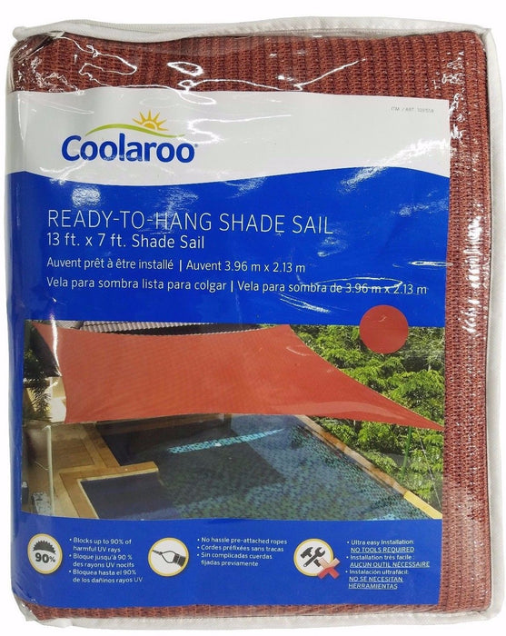 Coolaroo Ready To Hang Shade Sail with Ropes 13x7 ft - Terracotta