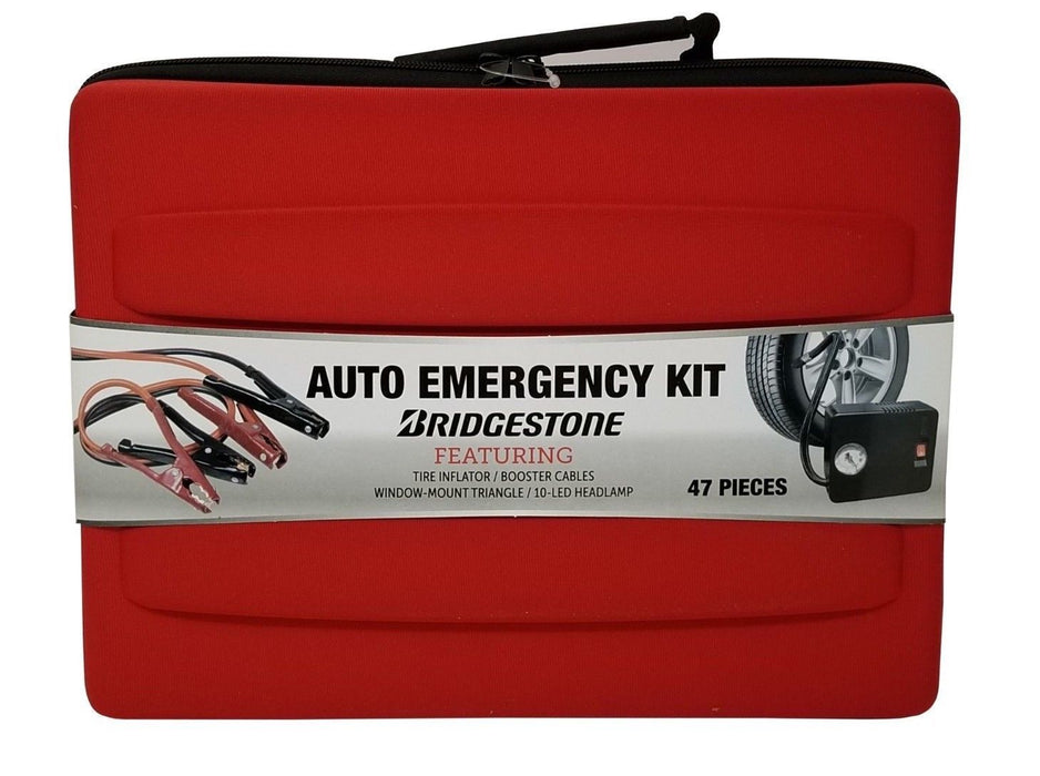 Bridgestone Auto Emergency Kit with Tire Inflator, Booster Cables + More 47 Pcs