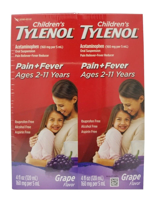Children's Tylenol Acetaminophen Pain+Fever Grape Flavor 4 FL OZ Each 2 Pack