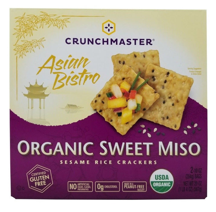 Crunchmaster Asian Bistro Organic Sweet Miso Sesame Rice Crackers Net 20 OZ