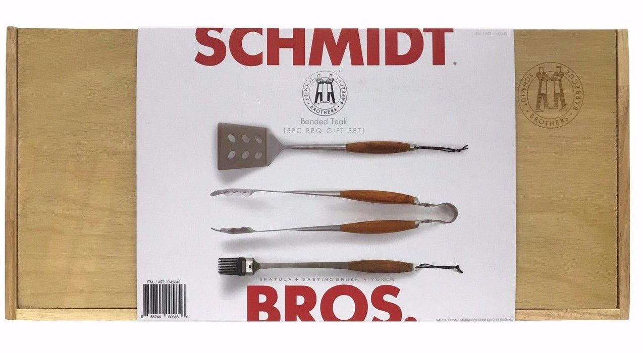Schmidt Brothers Bonded Teak 3 Pc BBQ Gift Set - Spatula + Basting Brush + Tongs