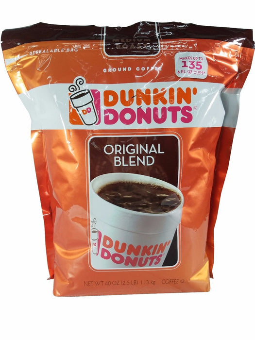Dunkin' Donuts Original Blend Ground Coffee Makes 135 - 6oz Cups Net Wt 2.5LB
