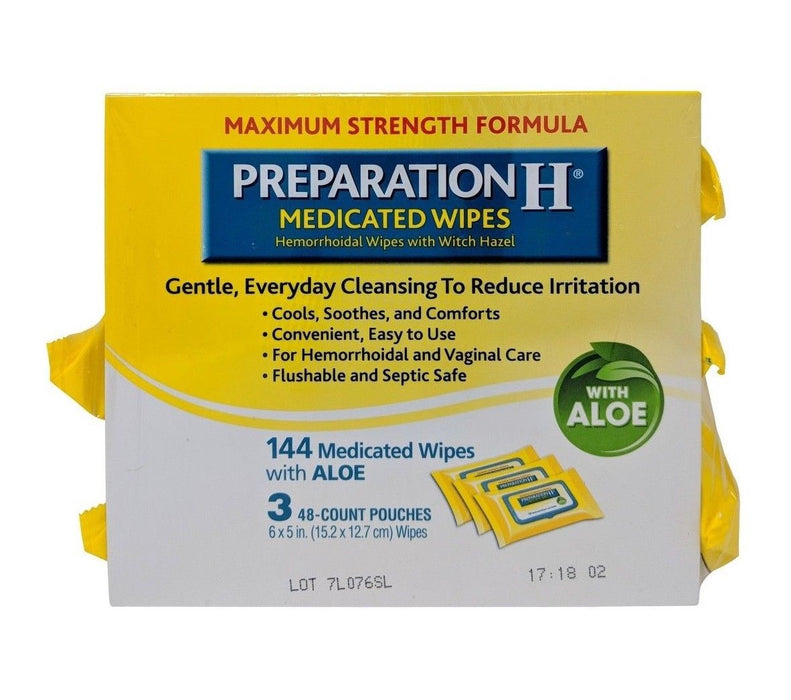 Preparation H Medicated Wipes with Aloe Maximum Strength Formula 144 Wipes