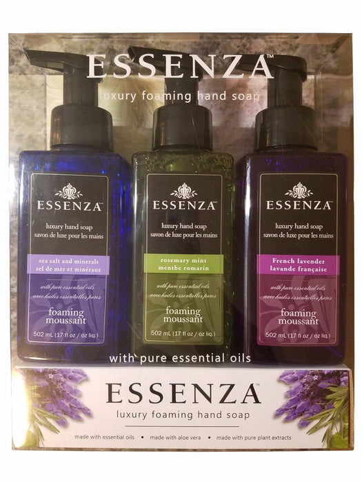 Essenza Luxury Foaming Hand Soap Essential Oils Aloe Vera Plant Extracts 3 Pack