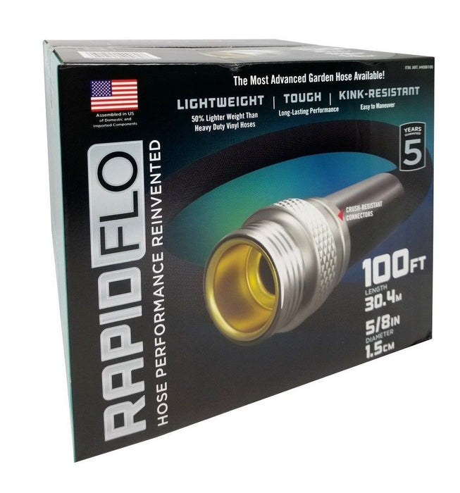 Rapid Flo Advanced Garden Hose Light Weight/Tough/Kink-Resistant 5/8 in 100 FT