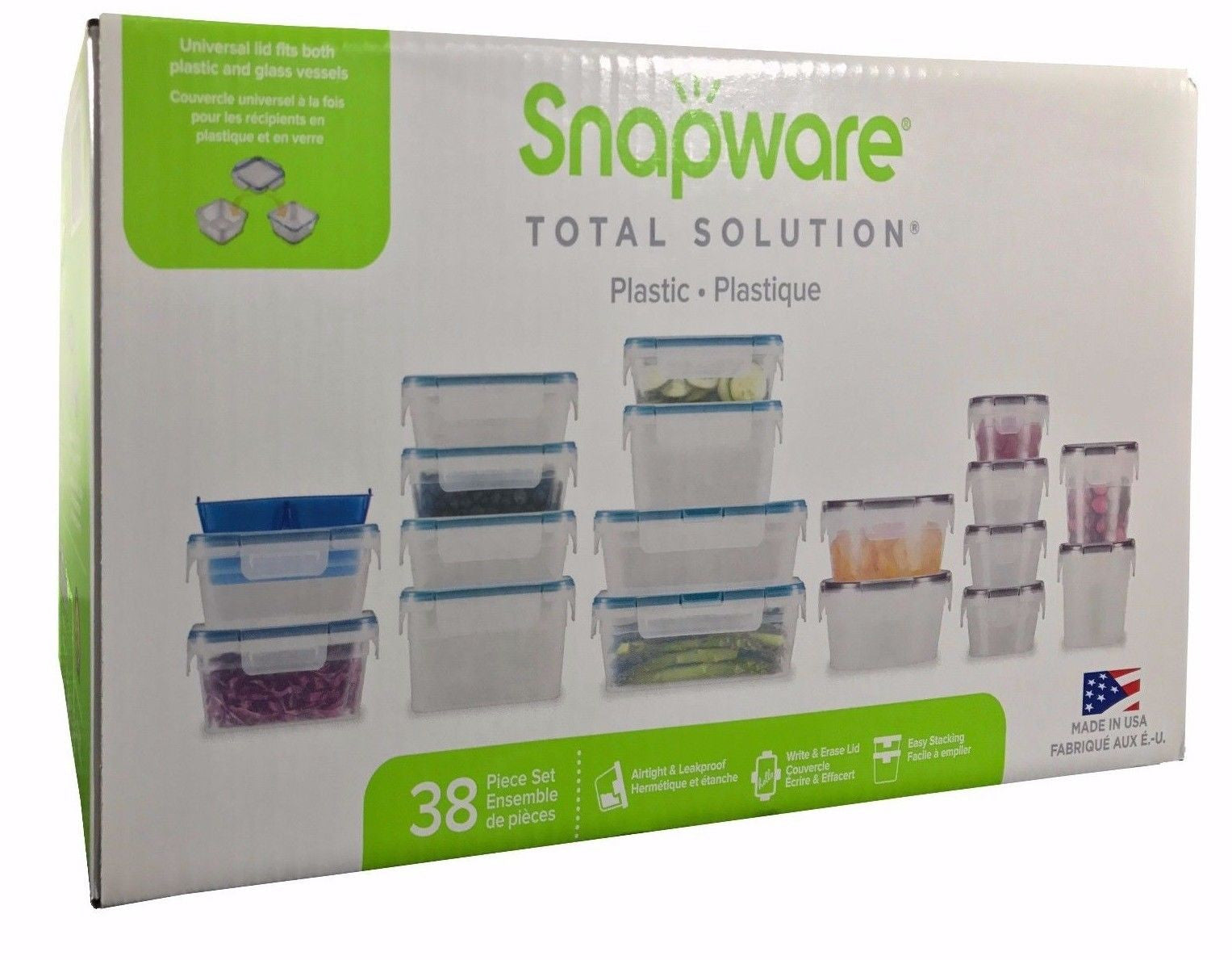 Snapware Total Solution Plastic Food Keeper Set Airtight & Leakproof 38 Pieces
