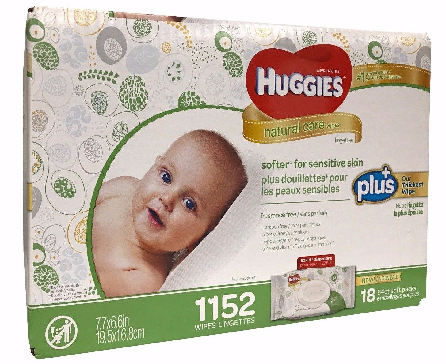 Huggies Natural Care Plus Baby Wipes 1152 Thickest Wipes 7.7 x 6.6 in