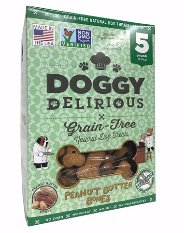 Doggy Delirious Peanut Butter Flavor Bones Grain-free Natural Dog Treats 5 LB