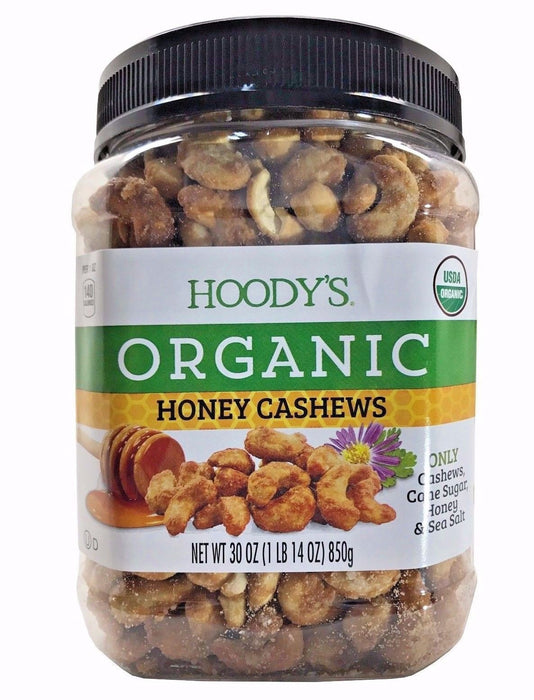 Hoody's Organic Honey Cashews with Cane Sugar, Honey & Sea Salt 30 OZ