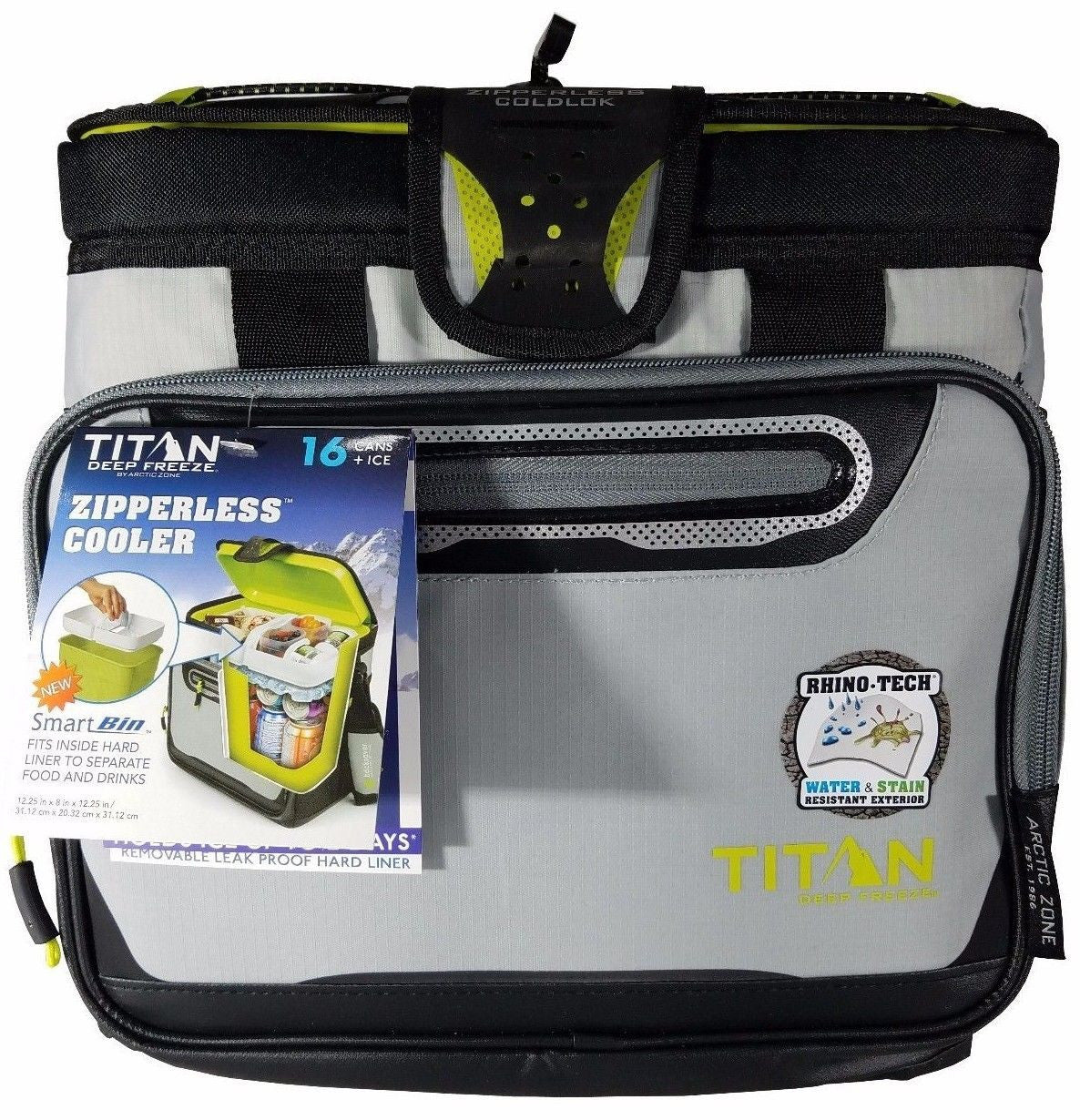 Titan Deep Freeze Zipperless Cooler by Arctic Zone 16 Cans+Ice with Bin - Grey