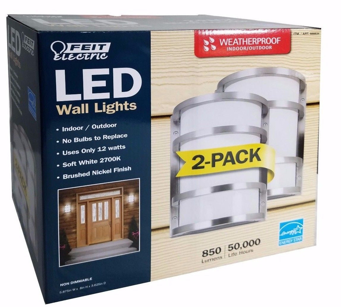 Feit Electric LED Weatherproof Indoor/Outdoor Wall Lights 850 Lumens 2 Pack
