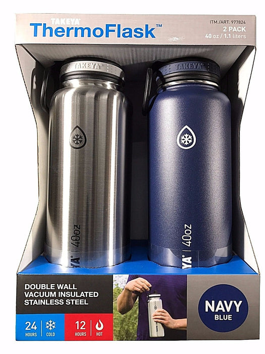 Takeya Thermo Flask Stainless Steel 40oz Water Bottles Silver & Navy Blue 2 Pack