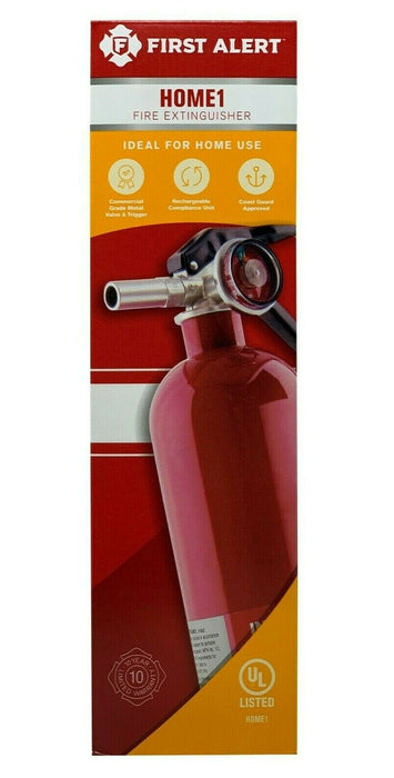 First Alert Home 1 Fire Extinguisher with Commercial Grade Metal Valve & Trigger