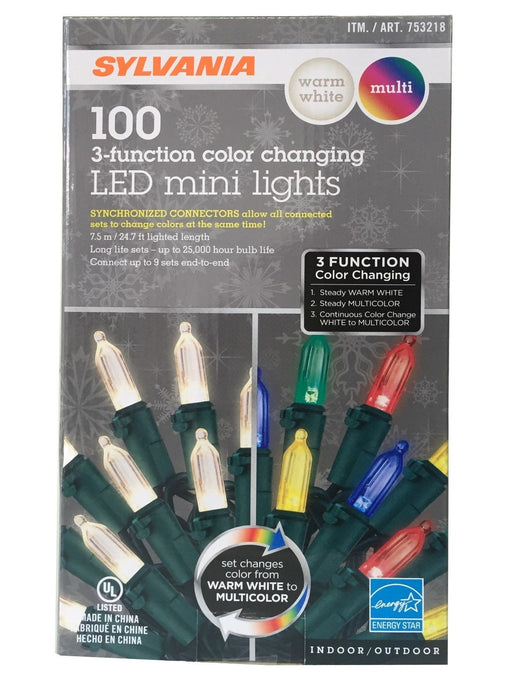 Sylvania 3-Function Color Changing LED Mini Lights Indoor or Outdoor 24.7 ft