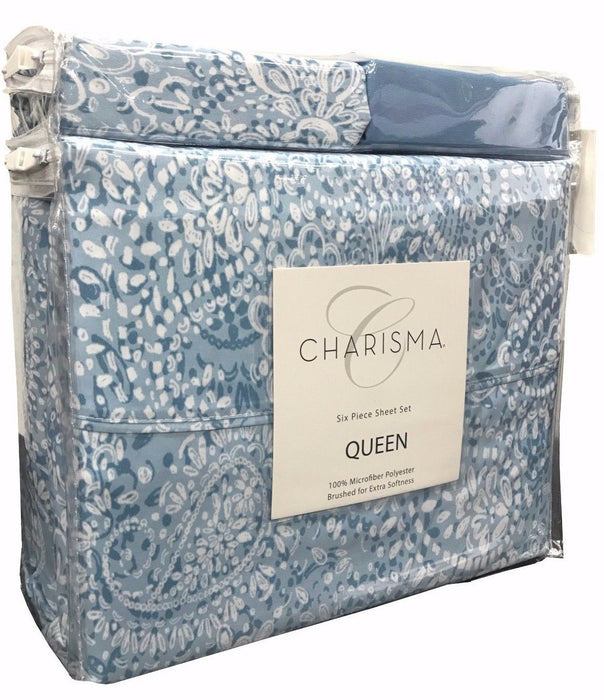 Charisma Queen 6 Piece Sheet Set 100% Microfiber Polyester - Blue Print (9338)