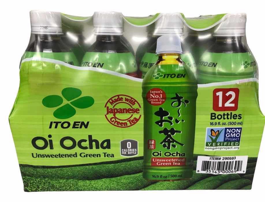 Ito En Oi Ocha Unsweetened Green Tea 16.9 FL OZ 12 Bottles