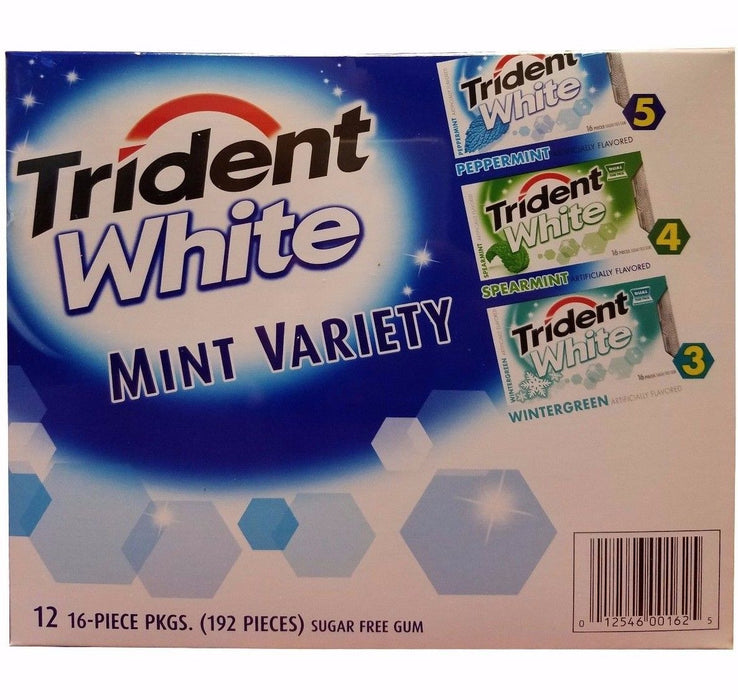 Trident White 3 Flavor Mint Variety 12 Packs 192 Pieces Sugarfree Gum