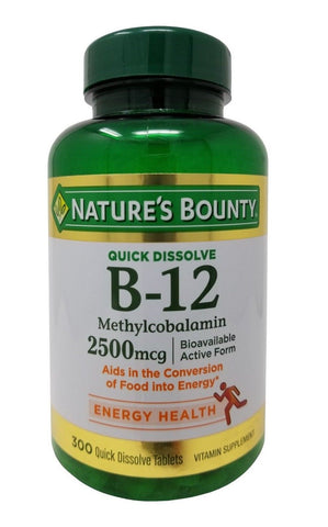 Nature's Bounty B-12 Methylcobalamin 2500mcg Vitamin Quick Dissolve 300 Tablets
