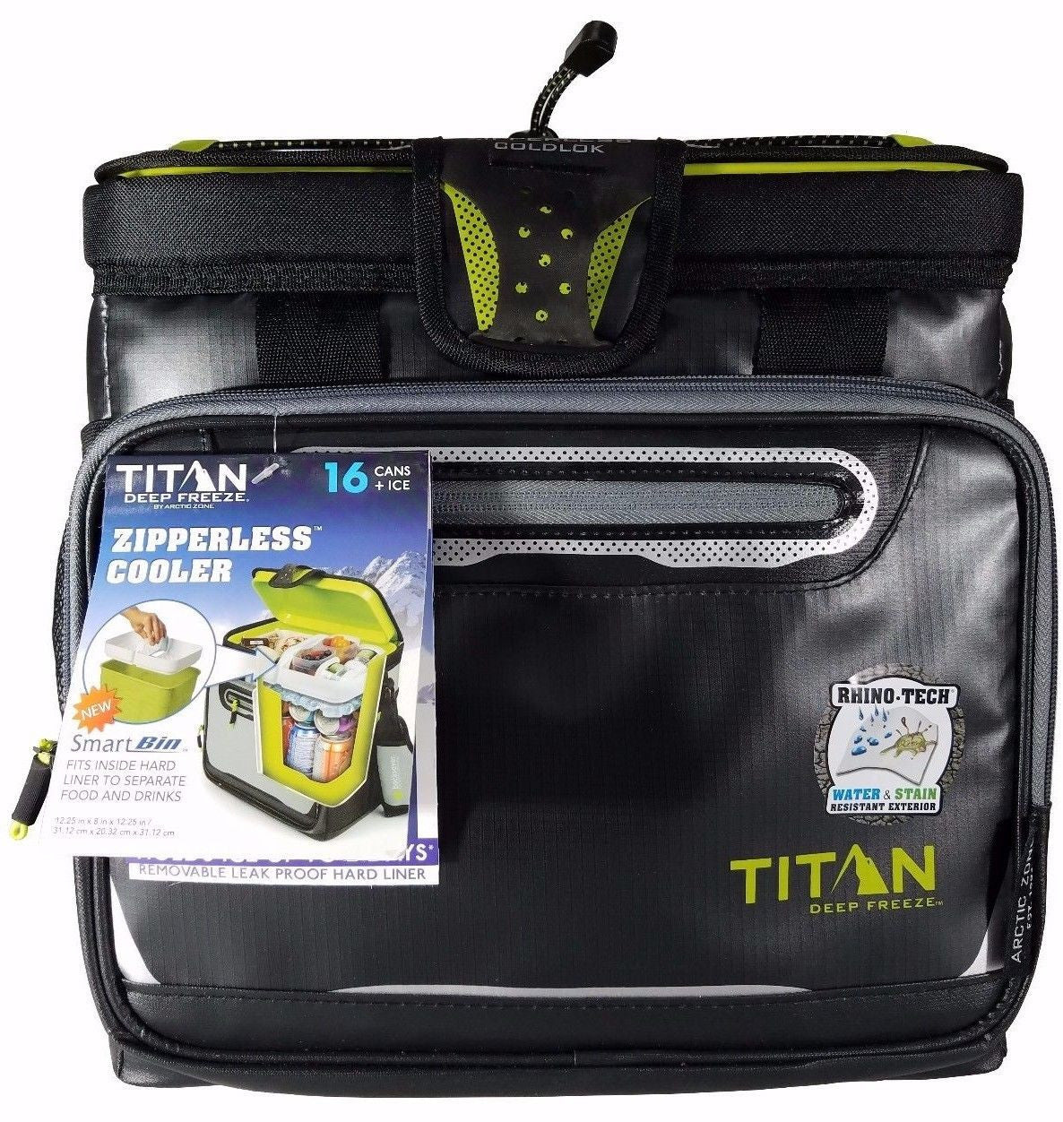 Titan Deep Freeze Zipperless Cooler by Arctic Zone 16 Cans+Ice with Bin - Black