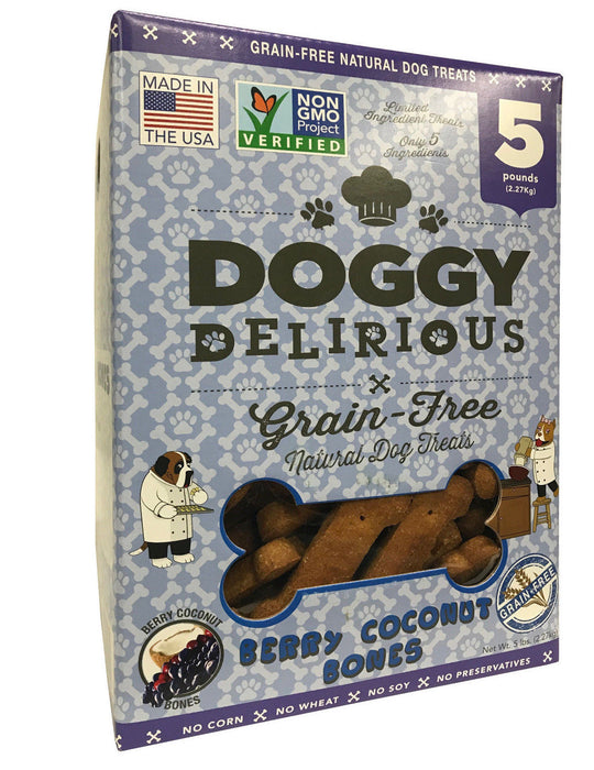 Doggy Delirious Berry Coconut Flavor Bones Grain-Free Natural Dog Treats 5 LB
