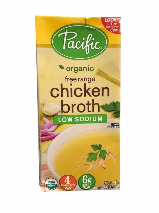 Pacific Organic Free Range Chicken Broth Low Sodium 32 fl oz