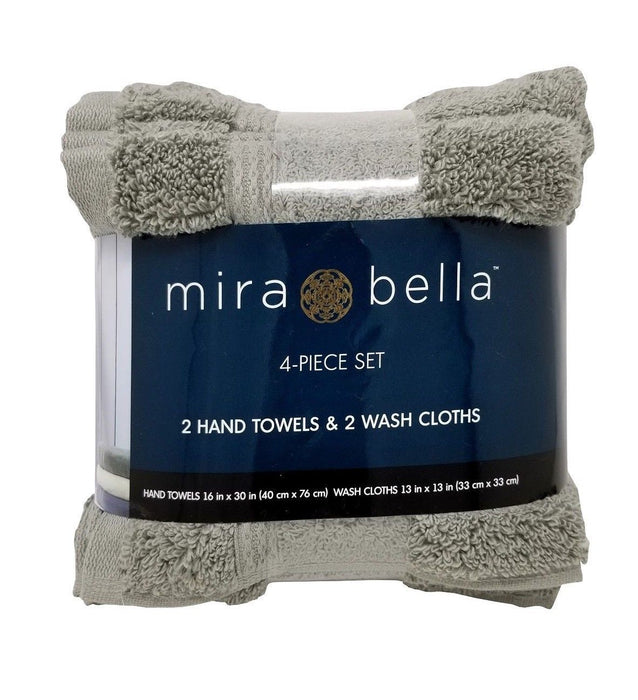 Mira Bella Hand Towels & Wash Cloths Cotton 4 Piece Set - Grey
