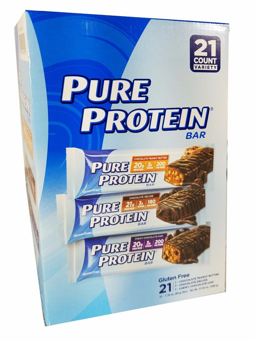 Pure Protein 3 Flavor Chocolate Energy Bars 37.03oz Variety Pack - 21 Bars