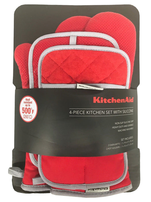 KitchenAid 4 Piece Kitchen Set with Silicone 2 Oven Mitts, 2 Pot Holders - Red