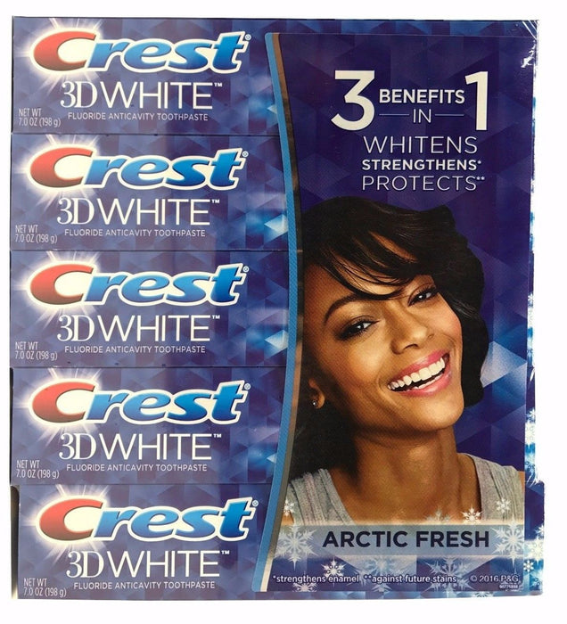 Crest 3D White Fluoride Anticavity Toothpaste 7 OZ Each Arctic Fresh 5 Pack