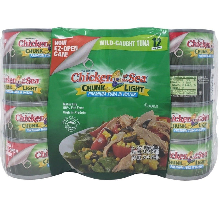 Chicken Of The Sea Wild-Caught Premium Tuna In Water Net 84 OZ -12 Pk