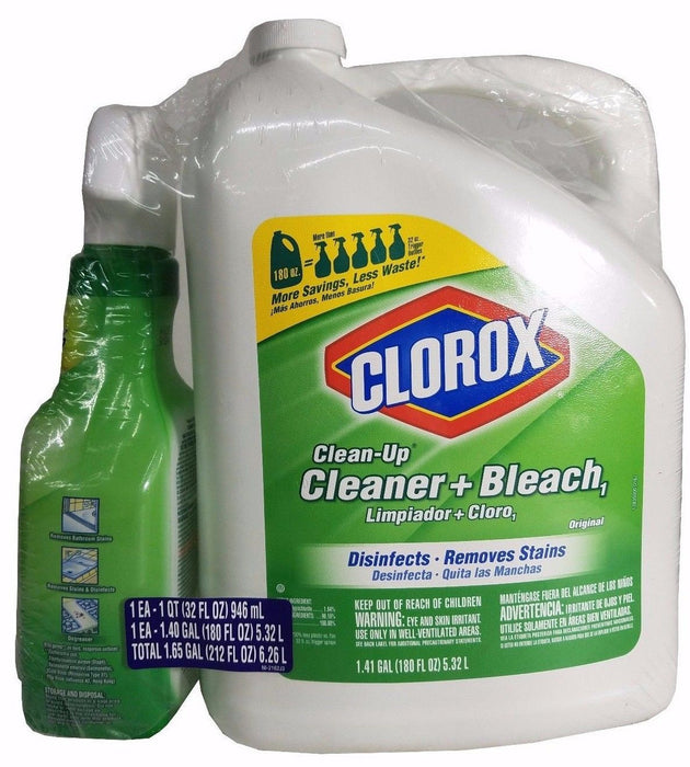 Clorox Clean-Up Cleaner+Bleach Large Can & Spray Can 2 Pack Total 1.65 Gallon