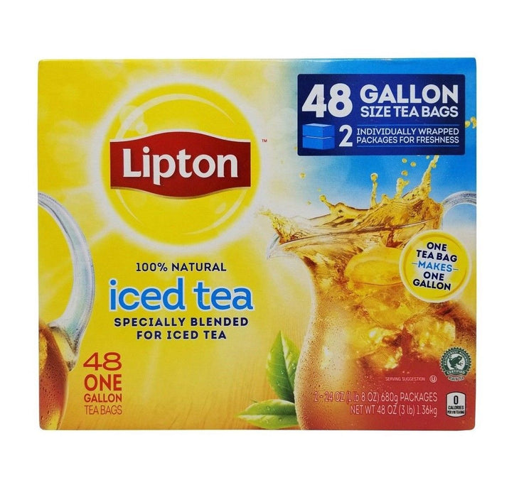 Lipton Iced Tea 100% Natural 48 One Gallon Tea Bags Net 3 LB