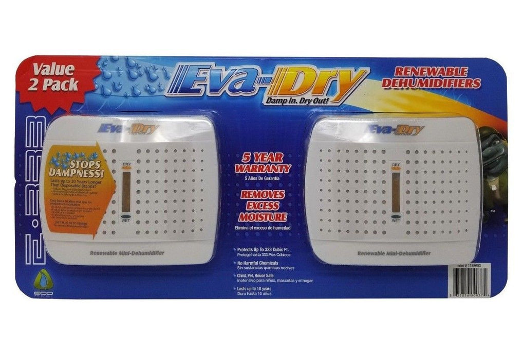 Eva-Dry Renewable Mini Dehumidifiers Damp In - Dry Out 2 Pack