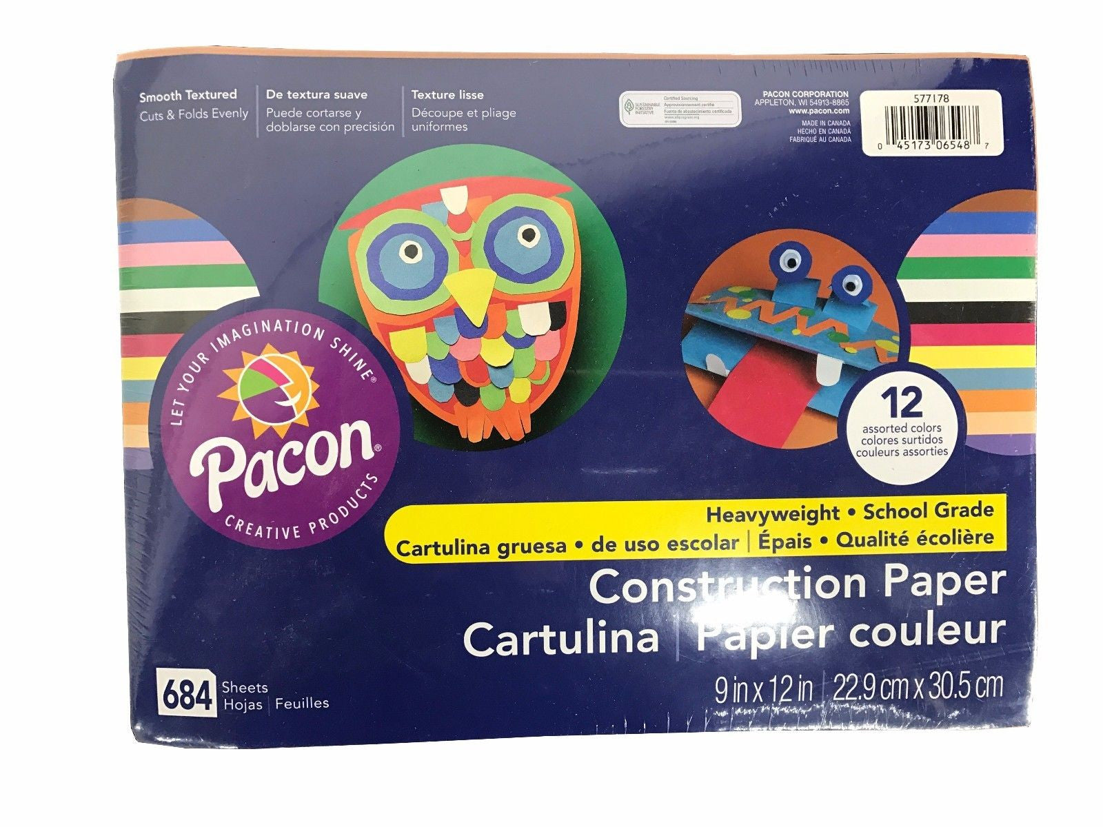 "Pacon 9"" x 12"" Construction Paper Heavyweight School Grade Assorted 684 Sheets"