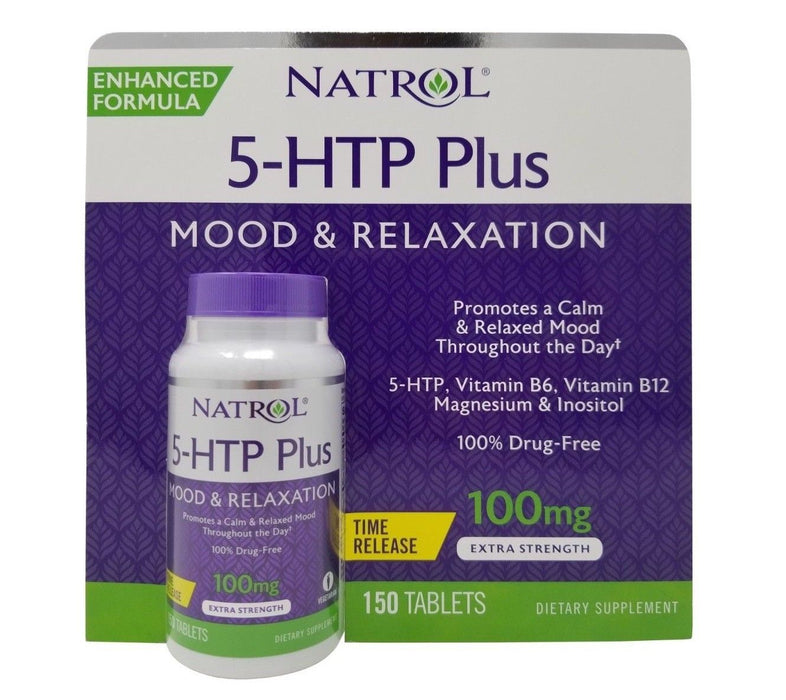 Natrol 5-HTP Plus Mood & Relaxation 100mg Extra Strength 150 Tablets
