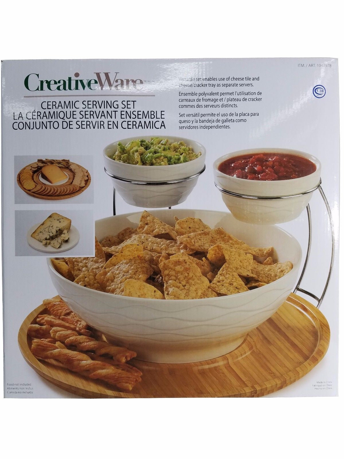 Creative Ware Ceramic Serving Set with Bambo Tray - 6 Piece