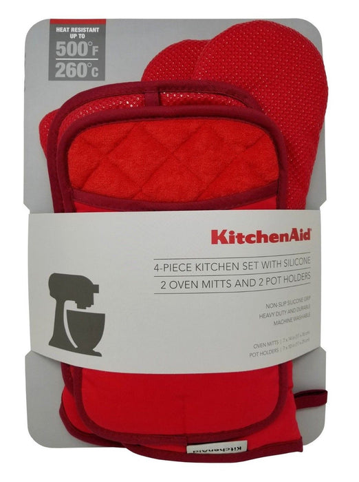 KitchenAid 4 Piece Kitchen Set with Silicone, 2 Oven Mitts & 2 Pot Holders - Red