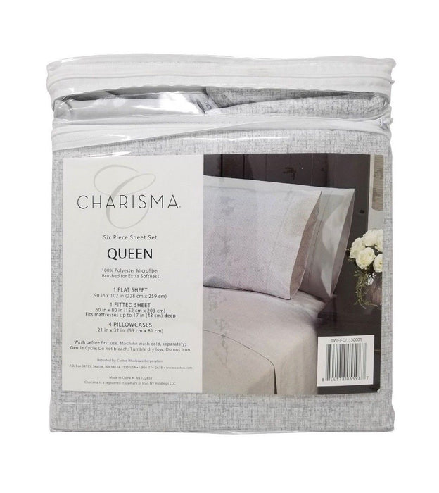 Charisma Queen 100% Polyester Microfiber 6 Piece Sheet Set - Tweed