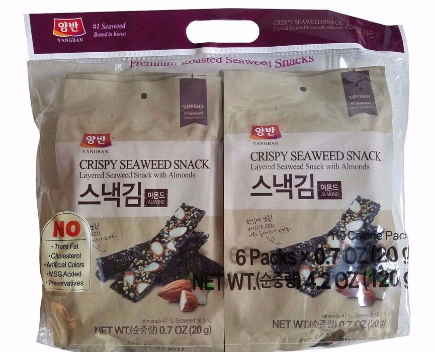 Dongwon Yangban Korean Crispy Layered Seaweed Snack with Almonds (6 pkt) 4.2 OZ