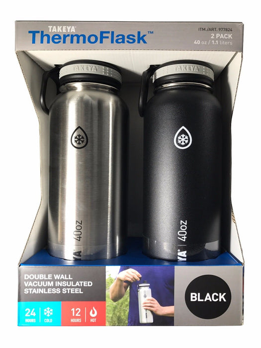 Takeya Thermo Flask Stainless Steel 40 oz Water Bottles Black & Silver 2 Pack