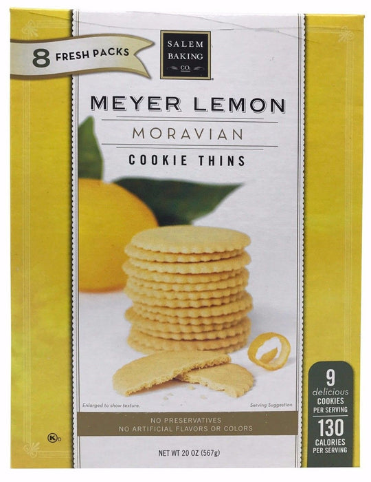 Salem Baking Meyer Lemon Moravian Cookie Thins 8 Fresh Packs 20 OZ