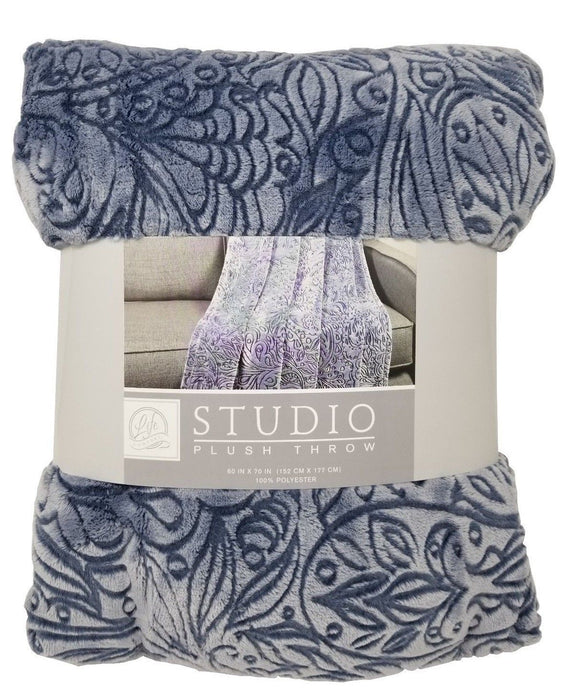 Life Comfort Studio Plush Throw 100% Polyester 60 x 70 in - Blue (9760)