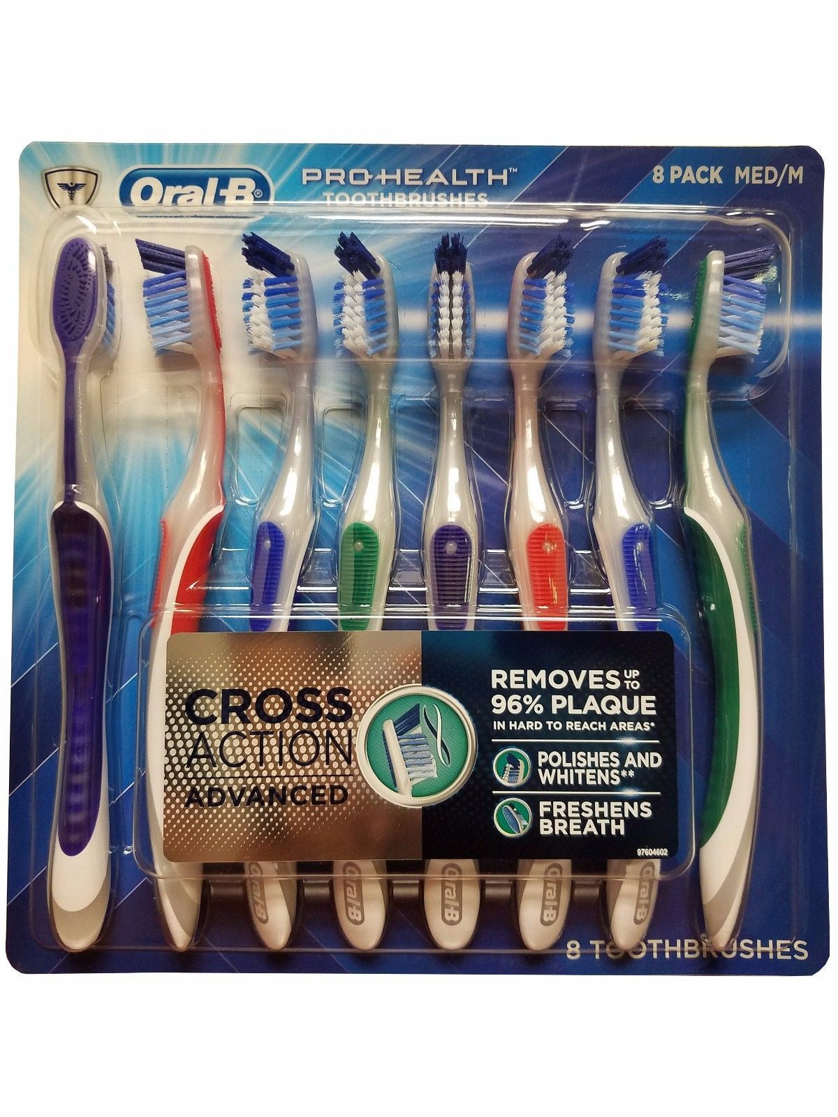 Oral B Pro-Health Toothbrushes Cross Action Advanced Medium 8 Pack