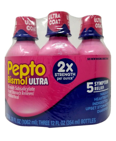 Pepto Bismol Ultra 5 Symptom Relief 2X Strength 12 FL OZ Each 3 Pack