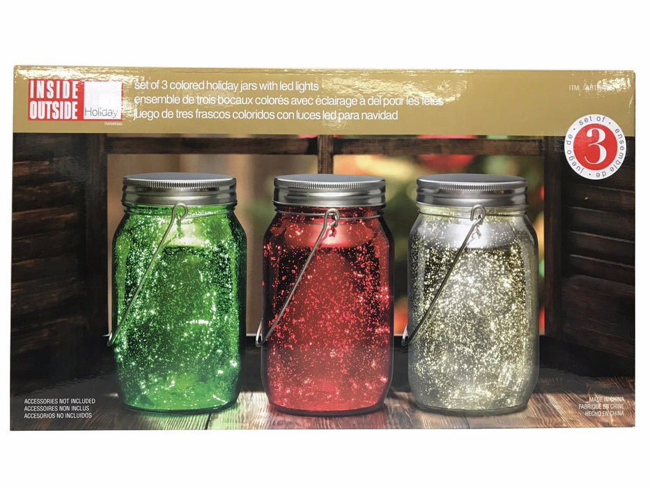 Inside Outside Set of 3 Colored Holiday Jars with LED Lights