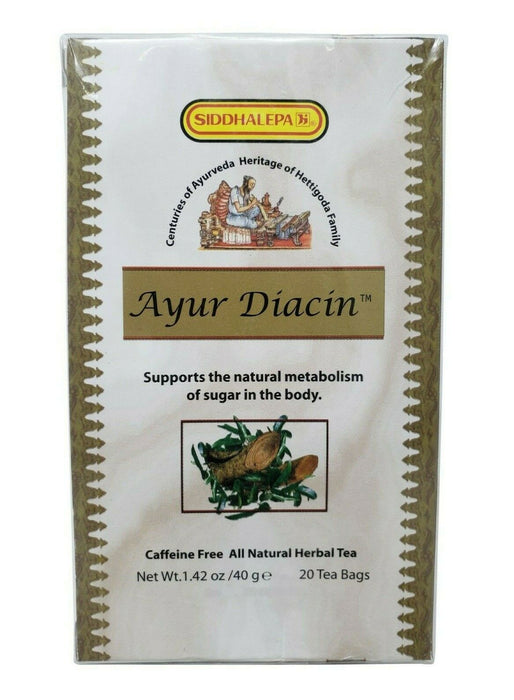 Siddhalepa Ayur Diacin All Natural Herbal Tea Supports Sugar Metabolism 20 Pack