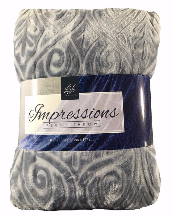 "Life Comfort Impressions Plush Throw 60x70"" - Grey"
