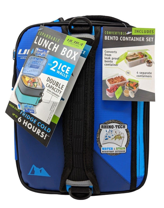 Ultra by Arctic Zone Expandable Lunch Box with 2 Ice Walls & Containers - Blue