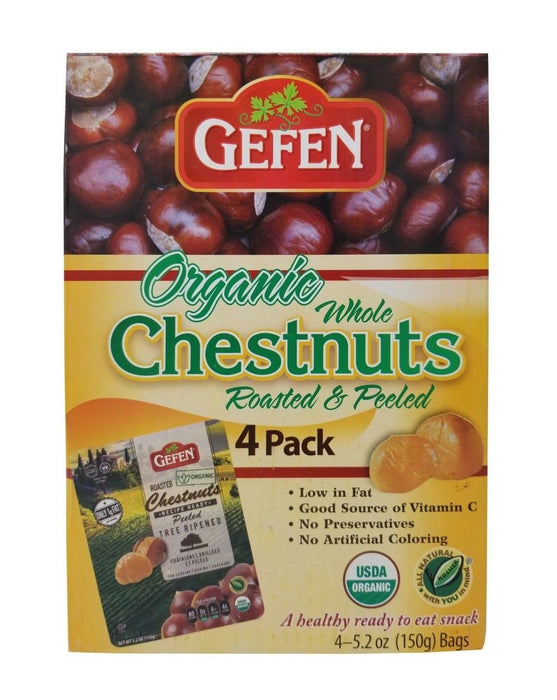 Gefen Organic Whole Chestnuts Roasted & Peeled 4 Packs 5.2 OZ Each